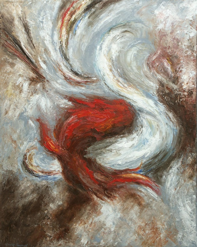 The Dance Of Good And Evil Abstract Art Oil Painting By Curtis Verdun