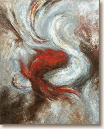The Dance of Good and Evil, Abstract Oil Painting by Curtis Verdun