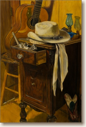 Hard Day, Western Still-Life Painting by Curtis Verdun
