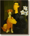 Woman with Dog and Flowers, Original Painting by Quincy Verdun