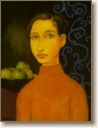 Young Girl with Green Apples, Original Oil Painting by Quincy Verdun