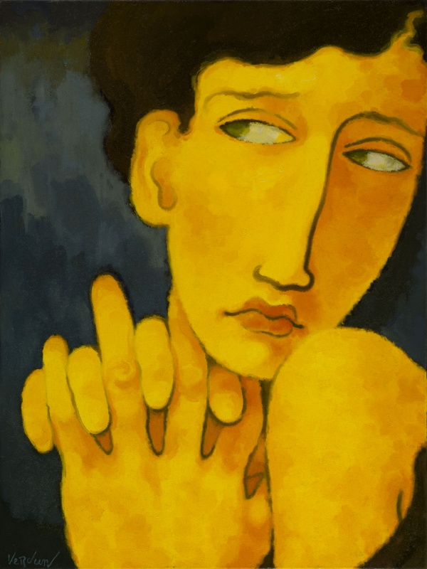 Portrait In Blue Room Oil Painting On Canvas Quincy Verdun