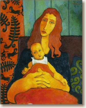 Mother with Child, Original Oil Painting by Quincy Verdun