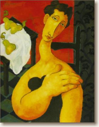 View larger image of Oil Painting on Canvas, 'Seated Woman with Pears on a Table'