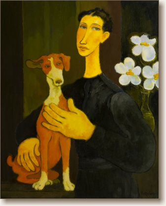 View larger image of Oil Painting on Canvas, 'Woman with Dog and Flowers'