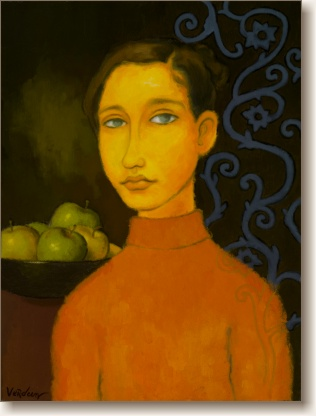 View larger image of Oil Painting on Canvas, 'Young Girl with Green Apples'