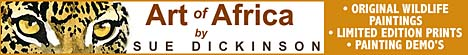 Art of Africa by Sue Dickinson - wildlife art, wildlife prints, wildlife paintings, South African postage stamps, painting demonstrations